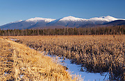 Pondicherry Wildlife Refuge - Scenic view of the Presidential Range from the Presidential Range Rail Trail (Cohos Trail) near Cherry Pond in Jefferson, New Hampshire.