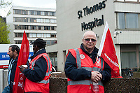 Public sector strikes over pension cuts. 10-5-12 Members of the PCS, UNITE, NUT and RMT Trade Unions strike over cuts to their pensions. The picket line at St Thomas' Hospital.