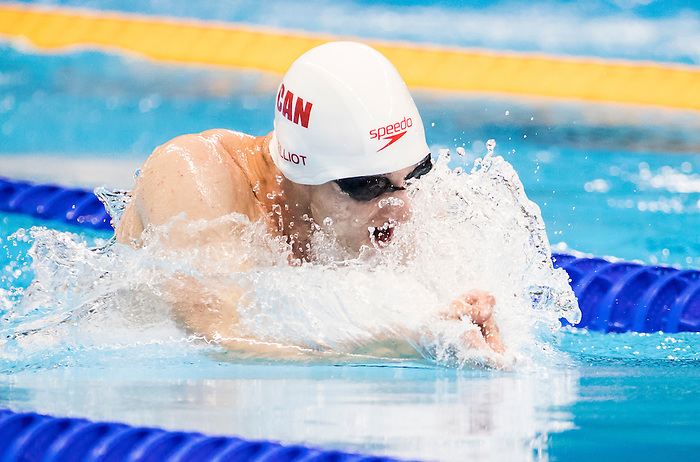 Alec Elliot, of Kitchener, ON, competes in the men's 100m breaststroke SB9 classification heats at the Olympic Aquatics Stadium during the Paralympic Games in Rio de Janeiro, Brazil, on September 8, 2016.