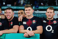 Owen Farrell and the rest of the England team pose for a photo after the match. Old Mutual Wealth Series International match between England and Argentina on November 26, 2016 at Twickenham Stadium in London, England. Photo by: Patrick Khachfe / Onside Images