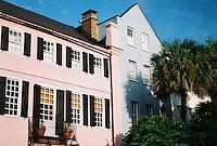 Photo of Rainbow Row in Charleston, South Carolina.