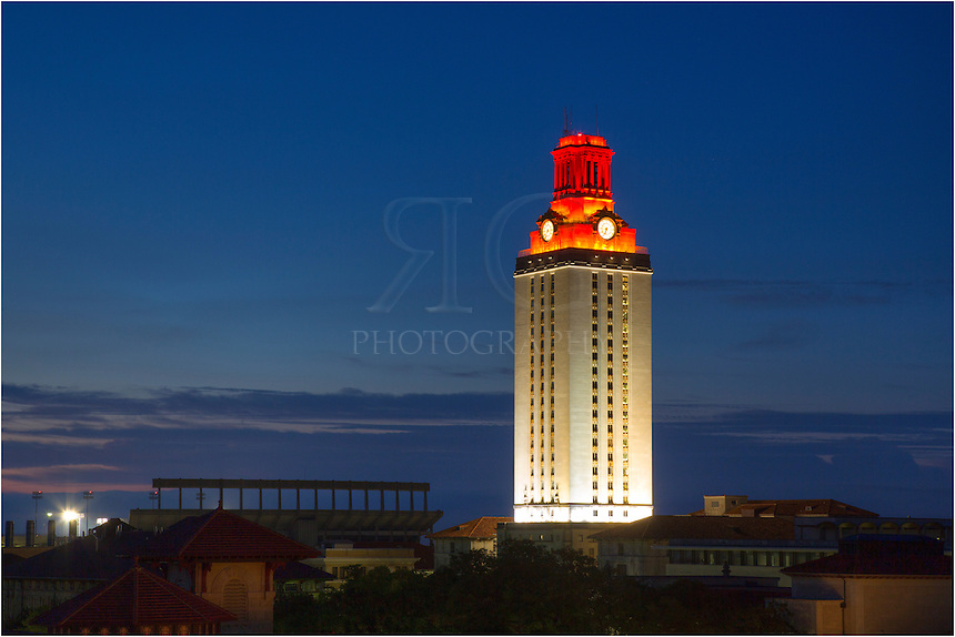 From the top of a parking garage, this is the view of the UT Tower in the early  morning hours. The football team had won a game the previous night, so I know I wanted to visit this location before sunrise in order to capture the orange tower in the predawn light.