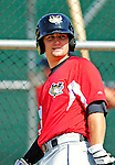 2 July 2011: Tri-City ValleyCats catcher Ryan McCurdy awaits his turn in the batting cage prior to a game against the Vermont Lake Monsters at Centennial Field in Burlington, Vermont. The Monsters rallied from a 4-2 deficit to defeat the ValletCats 7-4 in NY Penn League action. Mandatory Credit: Ed Wolfstein Photo