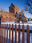 Sweetheart Abbey in the snow at New Abbey near Dumfries Dumfries and Galloway Scotland UK