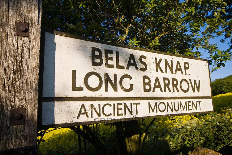 Signpost for Belas Knap Long Barrow ancient monument near Winchcombe, Gloucestershire, UK