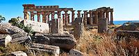Fallen column drums of Greek Dorik Temple ruins  Selinunte, Sicily photography, pictures, photos, images & fotos. 58