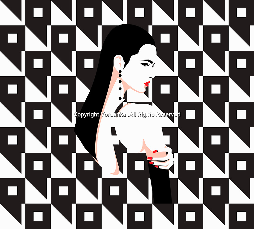 Sad, contemplative woman in geometric black and white pattern