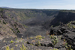 Hawai'i Volcanoes National Park, Big Island of Hawaii, Hawaii; a view of the Pauahi crater along the Chain of Craters Road
