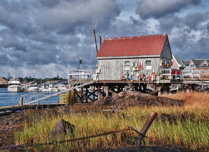 Lobster shacks, Badger's Island, Kittery, Maine, ME, USA
