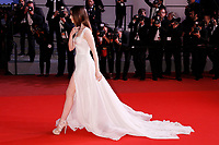 """Lily Collins leaves the """"Okja"""" premiere during the 70th Cannes Film Festival at the Palais des Festivals on May 19, 2017 in Cannes, France. Credit: John Rasimus/MediaPunch ***FRANCE, SWEDEN, NORWAY, DENARK, FINLAND, USA, CZECH REPUBLIC, SOUTH AMERICA ONLY***"""