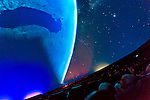 """Oct 4, 2012 - GARDEN CITY, NEW YORK U.S. - At the new JetBlue Sky Theater Planetarium at Cradle of Aviation Museum, Nassau County students watched """"We Are Astronomers"""" a digital planetarium show, which included closeup views of the planets from outer space. The planetarium, a state-of-the-art digital projection system, officially opens this weekend."""