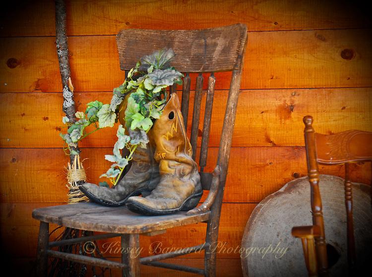 Old cowboy boots make a Montana planter.