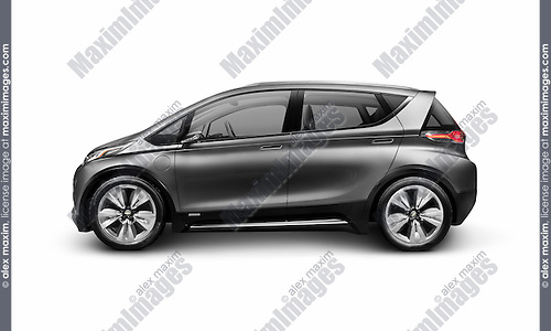 Grey 2015 Chevrolet Bolt EV concept electric car side view isolated on white background with clipping path