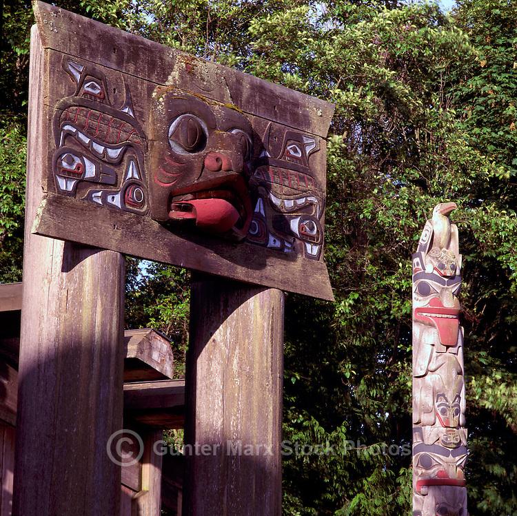 Haida Totem Poles at Museum of Anthropology, University of British Columbia (UBC), Vancouver, BC, British Columbia, Canada.  Double Mortuary Pole (left).