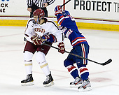 Isaac MacLeod (BC - 7), Terrence Wallin (UML - 9) - The Boston College Eagles defeated the visiting University of Massachusetts Lowell River Hawks 6-3 on Sunday, October 28, 2012, at Kelley Rink in Conte Forum in Chestnut Hill, Massachusetts.