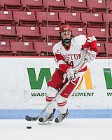Boston, Massachusetts - February 25, 2017: NCAA Division I. Hockey East (WHEA) Quarterfinal game. Boston University (white) defeated University of New Hampshire (blue), 4-3, at Walter Brown Arena.