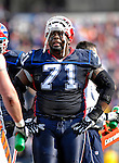 4 November 2007: Buffalo Bills offensive lineman Jason Peters takes a break on the sidelines during a game against the Cincinnati Bengals at Ralph Wilson Stadium in Orchard Park, NY. The Bills defeated the Bengals 33-21 in front of a sellout crowd of 70,745...Mandatory Photo Credit: Ed Wolfstein Photo