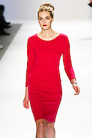 Malene Knudsen walks the runway in a Luca Luca Fall 2011 outfit, designed by Raul Melgoza, during Mercedez-Benz Fashion Week, February 10, 2011