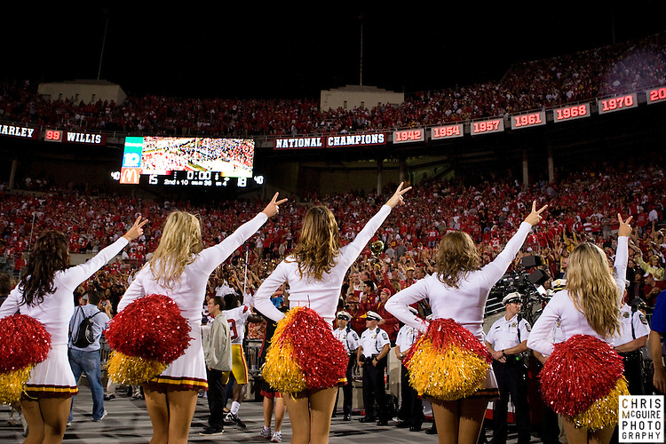 12 September 2009:  Football -- The USC song girls give the Victory sign at the end of their game against Ohio State at Ohio Stadium in Columbus.  USC won 18-15.  Photo by Christopher McGuire.