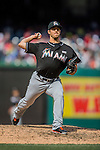 15 May 2016: Miami Marlins pitcher Kyle Barraclough on the mound against the Washington Nationals at Nationals Park in Washington, DC. The Marlins defeated the Nationals 5-1 in the final game of their 4-game series.  Mandatory Credit: Ed Wolfstein Photo *** RAW (NEF) Image File Available ***