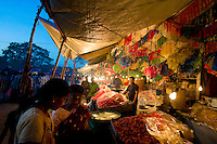 Sri Lanka. Mamangeshwarar festival. Sweet stalls at the open air market set up for the festival.