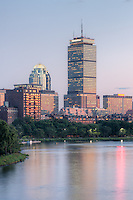 Twilight view of the Boston skyline including the Prudential Center, as seen over the Charles River from the Longfellow Bridge.
