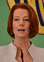 April 22nd, 2011, Tokyo, Japan - Australian Prime Minister Julia Gil lard speaks at the Japan National Press Club in Tokyo on Friday, April 22, 2011. Gillard met with Japanese Prime Minister Naoto Kan in Tokyo and promised Japan steady supplies of liquefied natural gas and rare-earth metals. She visited quake-hit area during her four-day visit to Japan. (Photo by Natsuki Sakai/AFLO) [3615] -mis-.