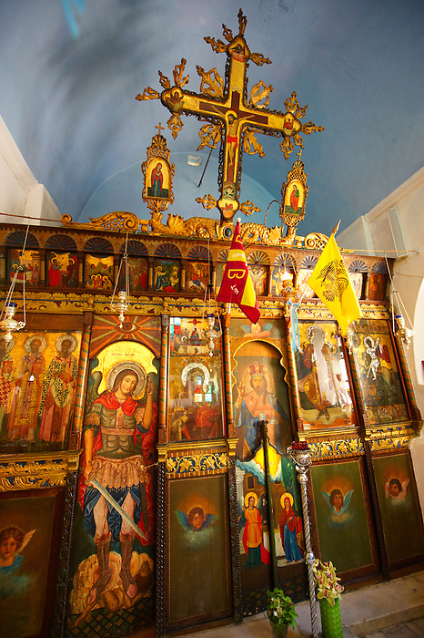 Interior of St Georges  traditional Greek Orthodox church, Chora, Mykonos, Cyclades Islands, Greece.