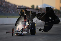 May 18, 2012; Topeka, KS, USA: NHRA top alcohol dragster driver Mark Talliaferro has fuel venting from his fuel tank during qualifying for the Summer Nationals at Heartland Park Topeka. Mandatory Credit: Mark J. Rebilas-