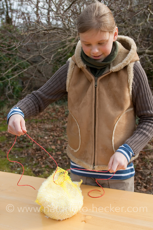 """Mädchen, Kind bastelt einen """"Federspender"""": Weiche Daunenfedern aus altem Kopfkissen werden im Garten den Vögeln in einem regengeschütztem Netz angeboten, die können sie als weiches Nist-Material nutzen. 4. Schritt: Das Netz wird mit einem Band verschlossen"""