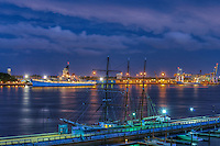 Camden NJ from  Philadelphia, PA, Delaware River, Susquehanna Bank, Adventure Aquarium, Battleship New Jersey, Waterfront, Dusk, Night, Lights beautiful