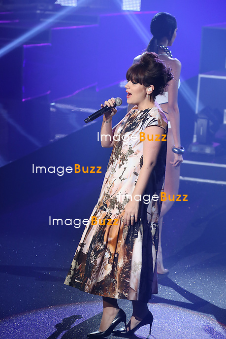 Lily Allen at the Etam Live Show to present Natalia Vodianova's lingerie collection at Bourse du Commerce in Paris, France, on February 26, 2013.