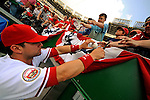 11 July 2008: Washington Nationals' catcher Jesus Flores signs autographs prior to a game against the Houston Astros at Nationals Park in Washington, DC. The Nationals shut out the Astros 10-0 in the first game of their 3-game series...Mandatory Photo Credit: Ed Wolfstein Photo