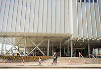 The new digs for the Whitney Museum of American Art on West Street and at the terminus of the High Line Park in the trendy Meatpacking District in New York on Friday, April 17, 2015. The trendy neighborhood is about to get even more trendy when the museum opens on May 1. The Whitney is hosting a block party on May 2 to welcome the public. (© Richard B. Levine)