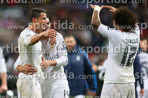 12.04.2016, Estadio Santiago Bernabeu, Madrid, ESP, UEFA CL, Real Madrid vs VfL Wolfsburg, Viertelfinale, Rueckspiel, im Bild Real Madrid's Cristiano Ronaldo, Carlos Henrique Casemiro and Marcelo Vieira celebrate // during the UEFA Champions League Quaterfinal, 2nd Leg match between Real Madrid and VfL Wolfsburg at the Estadio Santiago Bernabeu in Madrid, Spain on 2016/04/12. EXPA Pictures &copy; 2016, PhotoCredit: EXPA/ Alterphotos/ Acero<br /> <br /> *****ATTENTION - OUT of ESP, SUI*****