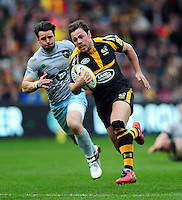 Rob Miller of Wasps runs in his second try of the match. Aviva Premiership match, between Wasps and Northampton Saints on April 3, 2016 at the Ricoh Arena in Coventry, England. Photo by: Patrick Khachfe / JMP