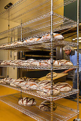 Hillsborough, North Carolina - Friday September 4, 2015 - Guillermo Lopez, a lead baker at the Weaver Street Market Bakery, removes loaves of miche from the oven the morning of Friday September 4, 2015 in Hillsborough, North Carolina. The loaves cool on racks for 3 hours before being shipped out.