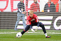 New York Red Bulls goalkeeper Ryan Meara (18) during warmups prior to playing the Colorado Rapids. The New York Red Bulls defeated the Colorado Rapids 4-1 during a Major League Soccer (MLS) match at Red Bull Arena in Harrison, NJ, on March 25, 2012.