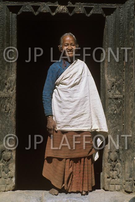February 1975, Pokhara area, Nepal. Daily life. Portrait of Nepalese.