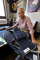 Shinji Kawai, president of Nihon Menpu, Ibara City, Okayama Prefecture, Japan, July 10, 2013. Kojima is the birthplace of Japanese denim and famous for artisan jeans. The area's textile industry is based on advanced dyeing and weaving technology that has it's roots in pre-industrial indigo dyeing. Kojima is the birthplace of Japanese denim and famous for artisan jeans. The area's textile industry is based on advanced dyeing and weaving technology that has it's roots in pre-industrial indigo dyeing.