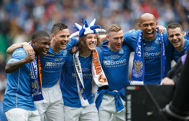 St Johndtone celebrate: Nigel Hasselbaink, Gary Miller, Stevie May, Paddy Cregg, Chris Iwelumo and James Dunne