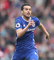 Chelsea's Pedro<br /> <br /> Photographer Mick Walker/CameraSport<br /> <br /> The Premier League - Stoke City v Chelsea - Saturday 18th March 2017 - bet365 Stadium - Stoke<br /> <br /> World Copyright &copy; 2017 CameraSport. All rights reserved. 43 Linden Ave. Countesthorpe. Leicester. England. LE8 5PG - Tel: +44 (0) 116 277 4147 - admin@camerasport.com - www.camerasport.com