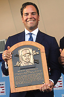 NEW YORK, NY - July 24: Mike Piazza displays his plaque after his induction into the Baseball Hall of Fame on July 24, 2016 in Cooperstown, New York. Photo Credit:John Palmer/ Media Punch