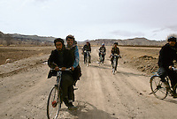 On the road to Bamiyan by bicycle. Hazarajat, Afghanistan.