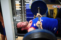 Michael van Vuuren of Bath Rugby in the gym. Bath Rugby pre-season training on June 21, 2016 at Farleigh House in Bath, England. Photo by: Patrick Khachfe / Onside Images