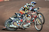 Heat 9: Woffinden (tactical) and J Davidsson - Lakeside Hammers vs Wolverhampton Wolves - Sky Sports Elite League Speedway at Arena Essex Raceway, Purfleet - 24/05/10 - MANDATORY CREDIT: Gavin Ellis/TGSPHOTO - Self billing applies where appropriate - Tel: 0845 094 6026