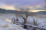 Idaho, North, Garwood. Sunrise through atmospheric clouds over a snow covered meadow and creek.