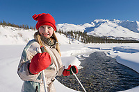 Julia Hicker, cross country skiing in the Brooks mountain range, Arctic Alaska