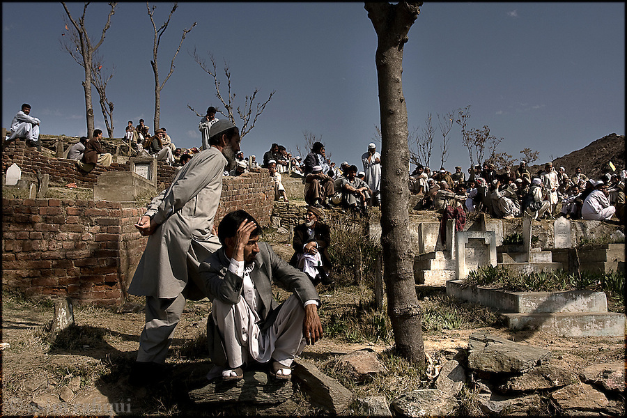 At a funeral for victims of the March 1st suicide bombing attack that killed over 50 and left 150+ seriously injured.  Militants in the region of Swat have continued their campaign against the government, destroying in the process, not just the tourism industry here but also the social fabric of this once idylic tourist region