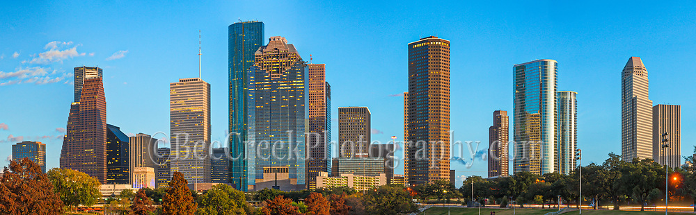 Houston the fourth largest city in the US has some of the tallest buildings in the Southern United States.  This is a panorama showing some of the cities modern skyscrapers towering over downtown Houston.